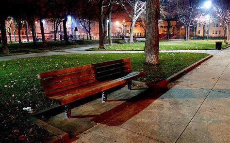 night bench wallpaper autumn park bench l night lights desktop