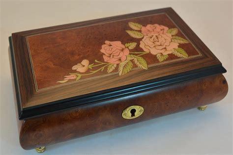 on flower burl box sorrento roses inlay matte burl elm musical jewelry box sorrento