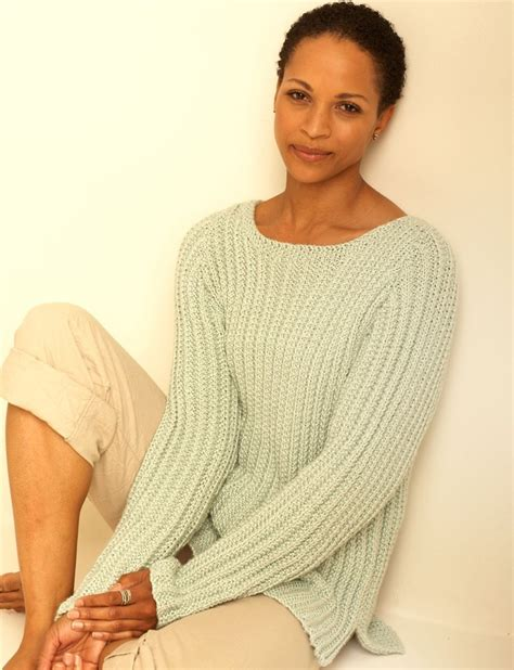 knitted cotton top patterns textured pullover in bernat handicrafter cotton solids