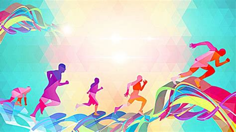 colorful silhouette figures running background lifestyle