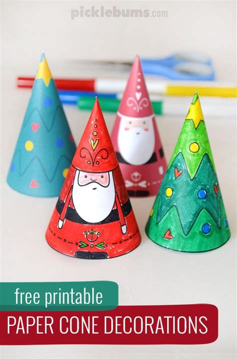 Paper Cone Craft - paper cone decorations free printable paper