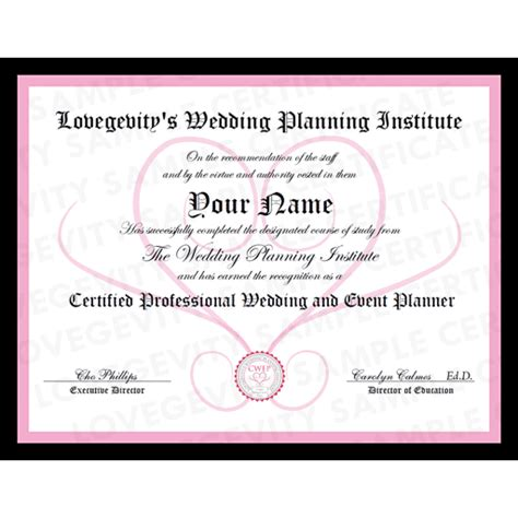 Wedding Planner License by Become A Wedding Planner
