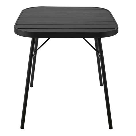 metal folding garden table in black w 70cm soledad