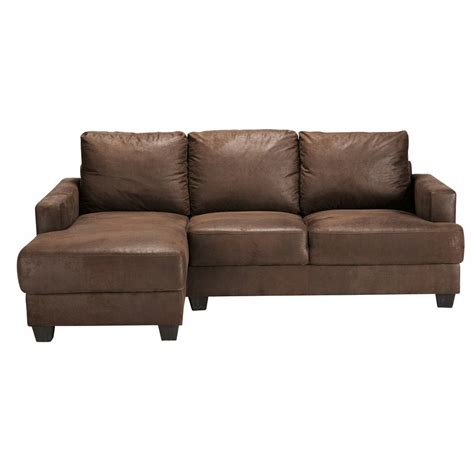 suede corner sofa 3 4 seater imitation suede lhf corner sofa in brown