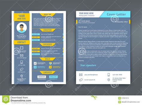 material design cv template resume and cover letter or cv template stock vector
