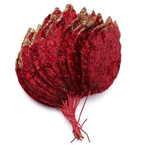 burgundy velvet poinsettia leaves holiday craft supplies