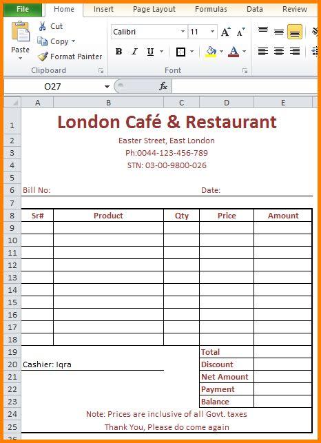7 restaurants bill format in pdf simple bill