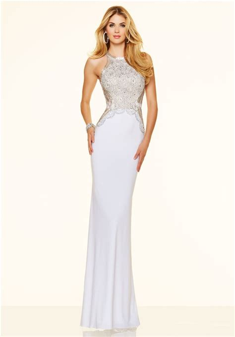 Dress Slim by Slim Backless White Beaded Evening Prom Dress
