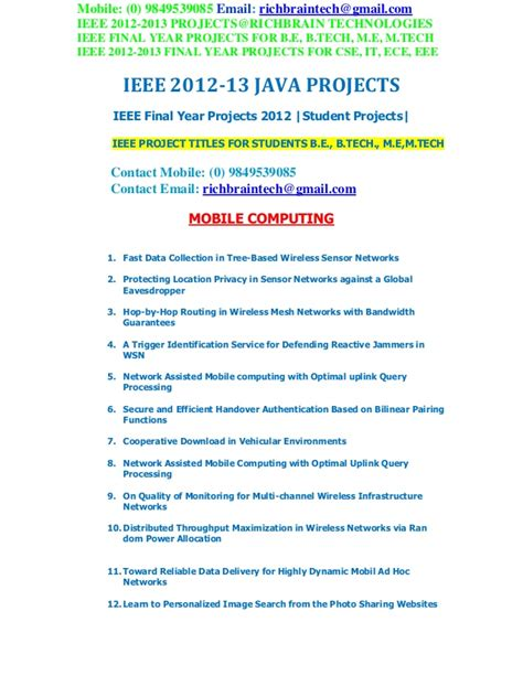 Ieee Research Papers For Cse 2012 by Ieee 2012 2013 Btech Java Projects Richbraintech