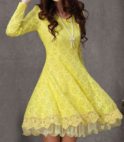 Yellow Lace Flower Dress Size Mlxl 12648 yellow sleeve flower lace pleated dress abaday