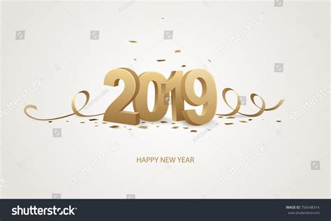new year animal 2019 happy new year 2019 golden 3d stock vector 756548314