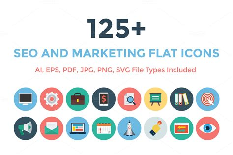 Seo Marketing Company 5 by 125 Seo And Marketing Flat Icons Icons On Creative Market