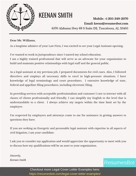 legal assistant cover letter samples templates pdfword