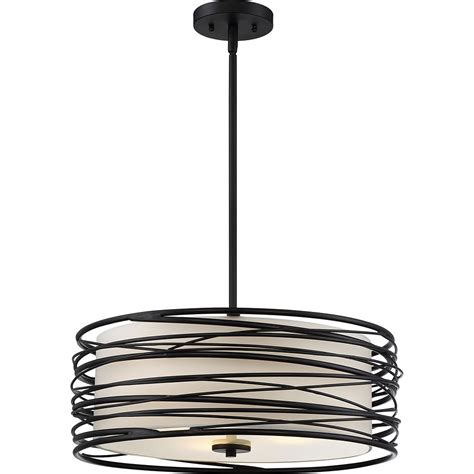 Quoizel Spl2820k Spiral Contemporary Mystic Black Drum Modern Hanging Pendant Lights