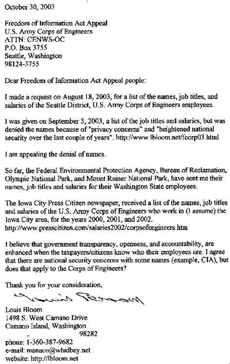 S Letter Of Appeal 2003 Federal Corps Of Engineers Seattle District Employees List