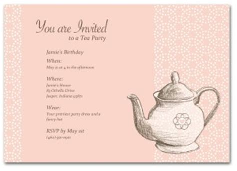 Tea Invitation Template Word Printable Tea Party Birthday Invitation Template