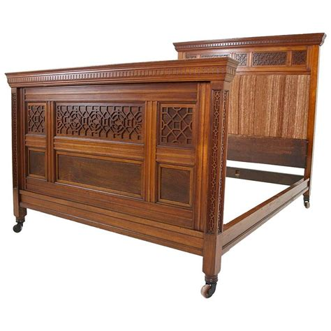 bed rails queen 1880s victorian fretted walnut padded back queen bed and