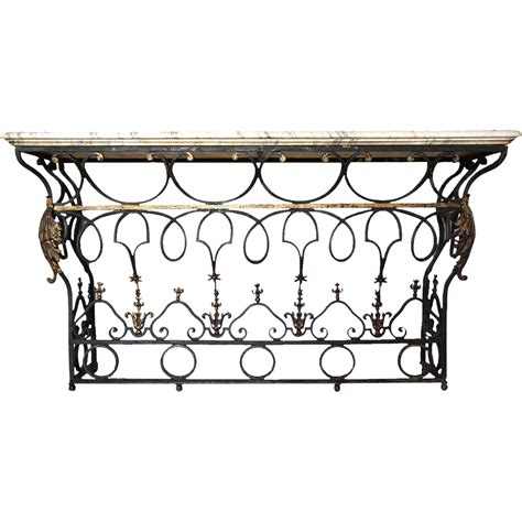 Lane Furniture Dining Room french marble top wrought iron balcony as a console table