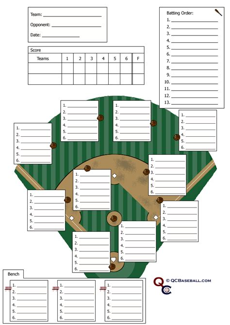 Free Softball Lineup Template search results for baseball lineup card template