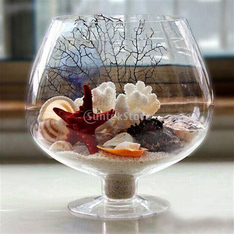 wine glass shaped transparent glass bottle vase for plant