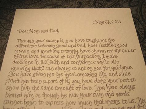 thank you letter to parents of the groom a message from the and groom to their parents