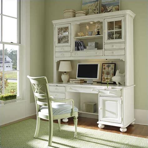 White Computer Desk Hutch stanley coastal living wood computer desk hutch in antique