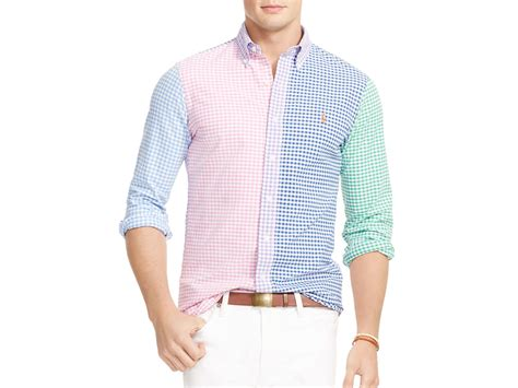 multi color shirt polo ralph multi gingham oxford regular fit button