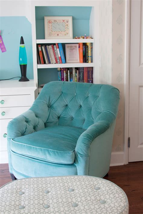 teen bedroom seating turquoise tufted chair contemporary girl s room annette tatum