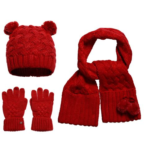 knitting pattern hat scarf gloves mayoral girls red knitted pom pom hat scarf gloves save