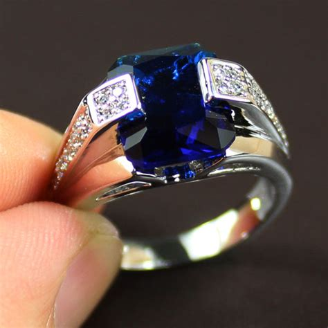 Handmade Mens Ring - size 8 12 handmade mens jewelry big blue sapphire 925