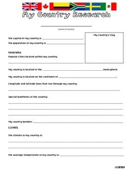country research project template by spisich tpt