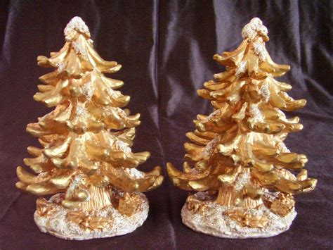 gold glitter resin christmas trees lot of 2 christmas