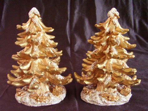 gold glitter resin christmas trees lot of 2 christmas