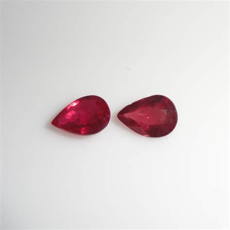 ruby 10 3ct madagascar ruby pear shape 7x5mm matched pair