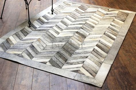 Cowhide Leather Rug - handmade cowhide leather area rug gray chevron