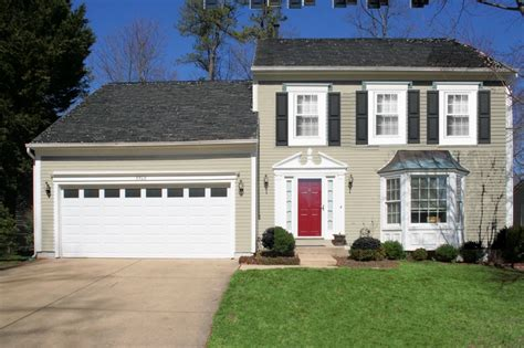 white siding houses with black shutters desert sand siding black shutters and red door looks so familiar curb appeal