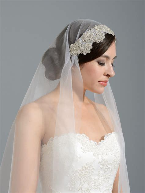 Wedding Veil by Ivory Wedding Veil With Rhinestone Applique V048