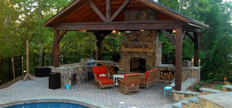 backyard pavilion outdoor stone fireplaces charlotte nc masters stone group