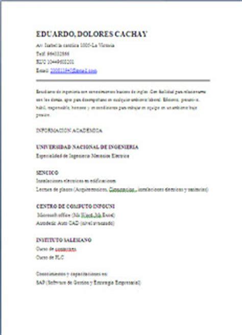 Modelo Curriculum Lima Peru Modelos De Curriculum Vitae Lima Peru