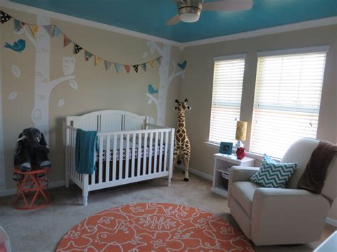 turquoise teal and coral orange neutral nursery project nursery
