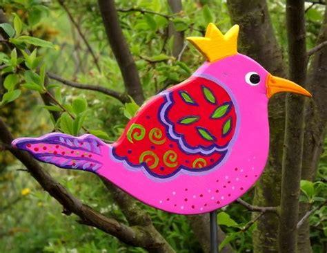 deko garten rosa gartenstecker vogel zaunk 246 nigin rosa garten deko rosa