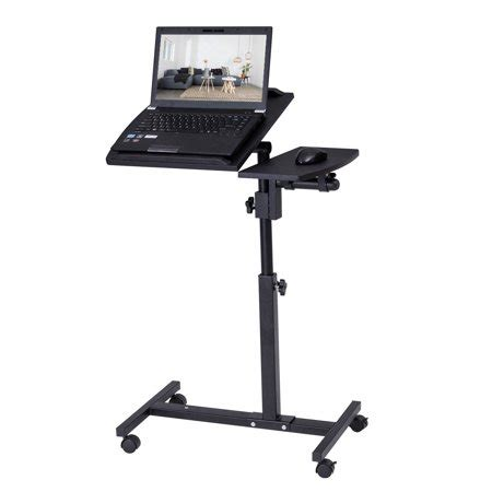 costway angle  height adjustable laptop desk rolling notebook sofa bed table stand walmartcom
