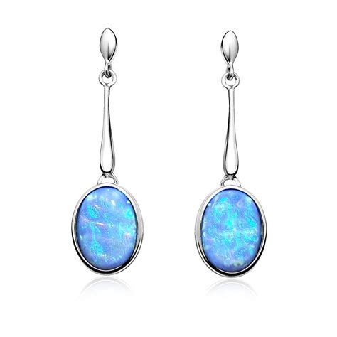oval opal drop earrings blue opal earrings aee5002 163 49