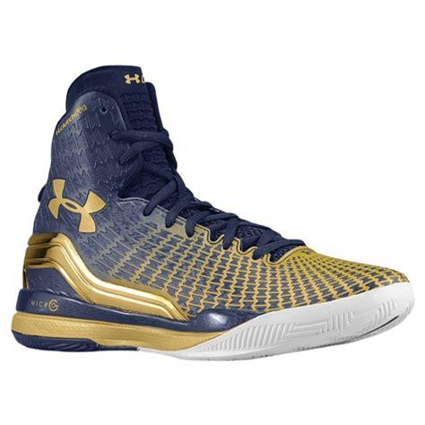 notre dame basketball shoes armour clutchfit drive navy gold notre dame