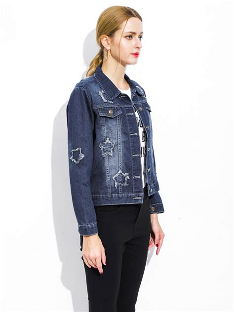 Single Breasted Denim Jacket single breasted sleeves ripped blue denim jacket womens