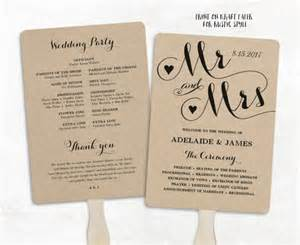 Wedding Fan Program Template by Printable Wedding Program Template Fan Wedding Program