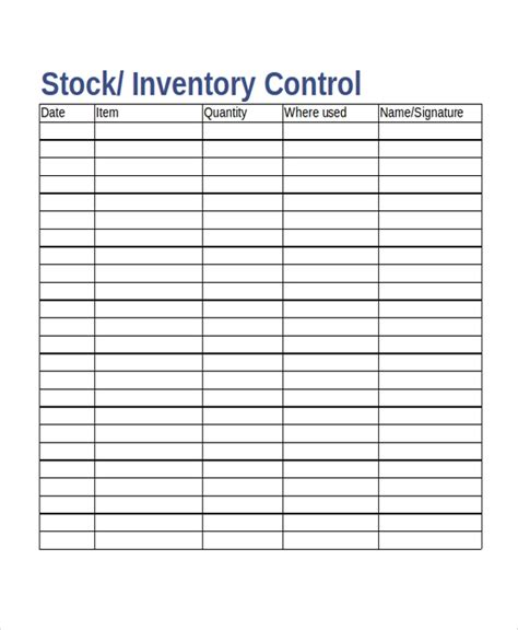 17 Inventory Templates Free Sle Exle Format Stock Inventory Template