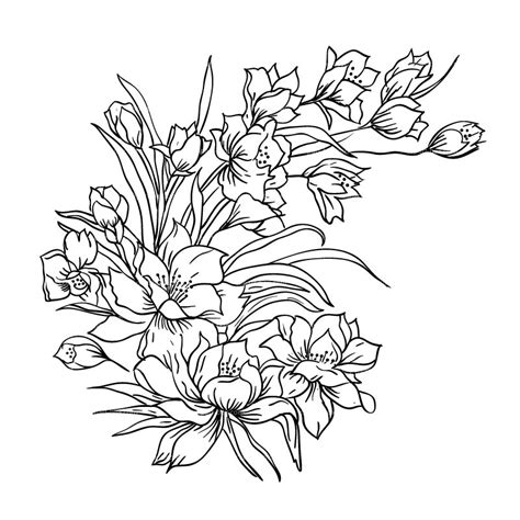 floral pattern sketch drawing of flower bouquet best drawing sketch ideas