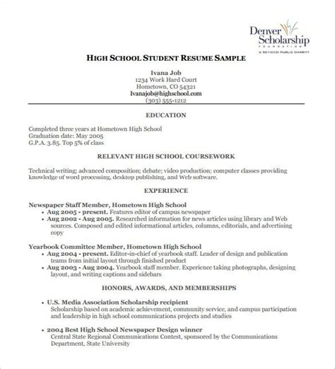 High School Resume Template For Scholarships by High School Scholarship Resume Best Resume Collection