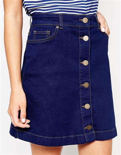 oasis oasis button through denim mini skirt at asos
